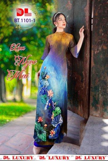 Vải áo dài nhung nhật đính đá BT 1101 của vải áo dài Kim Ngọc2