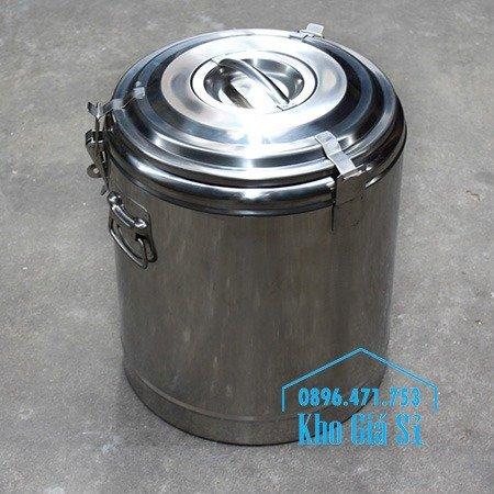 Bán thùng inox cách nhiệt 2 ngăn đựng đồ ăn - Nồi inox 2 lớp giữ nhiệt chia thành 2 ngăn đựng đồ ăn nấu chín7