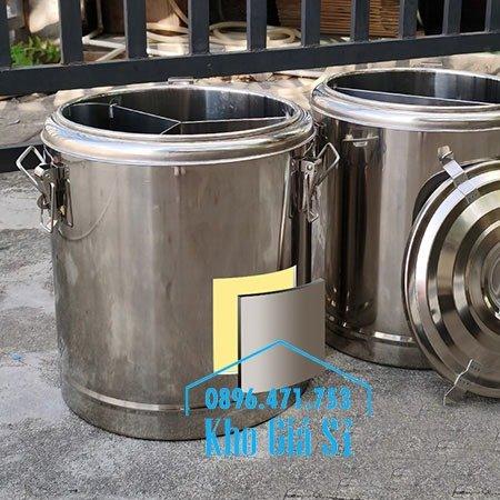 Bán thùng inox cách nhiệt 2 ngăn đựng đồ ăn - Nồi inox 2 lớp giữ nhiệt chia thành 2 ngăn đựng đồ ăn nấu chín5