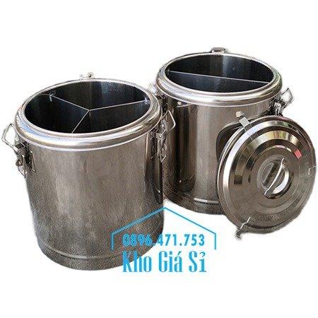 Bán thùng inox cách nhiệt 2 ngăn đựng đồ ăn - Nồi inox 2 lớp giữ nhiệt chia thành 2 ngăn đựng đồ ăn nấu chín4