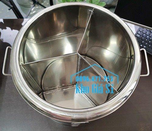 Bán thùng inox cách nhiệt 2 ngăn đựng đồ ăn - Nồi inox 2 lớp giữ nhiệt chia thành 2 ngăn đựng đồ ăn nấu chín3