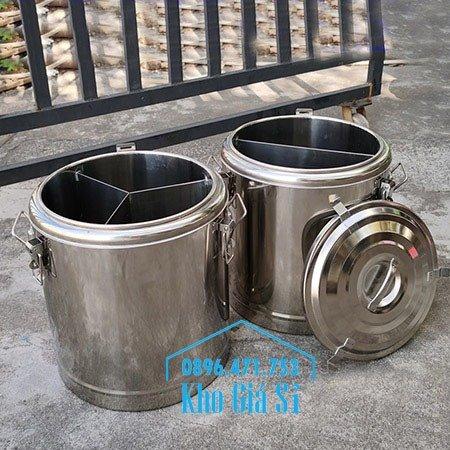 Bán thùng inox cách nhiệt 2 ngăn đựng đồ ăn - Nồi inox 2 lớp giữ nhiệt chia thành 2 ngăn đựng đồ ăn nấu chín2