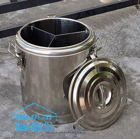 Bán thùng inox cách nhiệt 2 ngăn đựng đồ ăn - Nồi inox 2 lớp giữ nhiệt chia thành 2 ngăn đựng đồ ăn nấu chín1