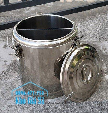 Bán thùng inox cách nhiệt 2 ngăn đựng đồ ăn - Nồi inox 2 lớp giữ nhiệt chia thành 2 ngăn đựng đồ ăn nấu chín0