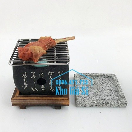 Bếp nướng phong cách Nhật Bản nướng bằng miếng đá -  bếp nướng thịt bằng đá kiểu Nhật hình vuông6