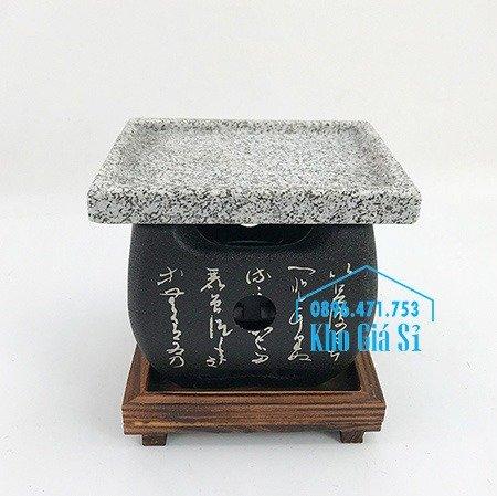 Bếp nướng phong cách Nhật Bản nướng bằng miếng đá -  bếp nướng thịt bằng đá kiểu Nhật hình vuông4