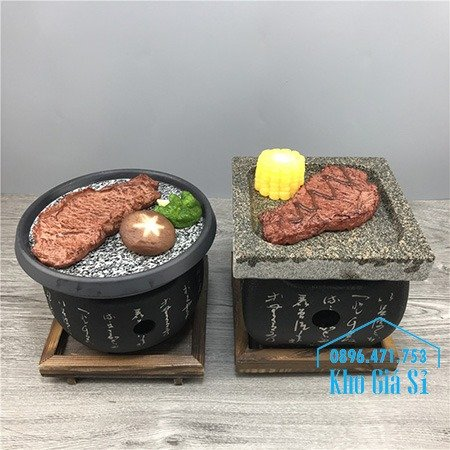 Bếp nướng phong cách Nhật Bản nướng bằng miếng đá -  bếp nướng thịt bằng đá kiểu Nhật hình vuông1