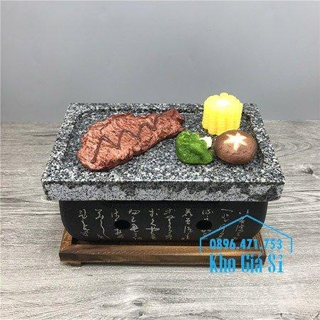 Bếp đá nướng thịt bò Wagyu, bò bít tết tại bàn - Bếp nướng thịt bằng đá kiểu Nhật hình chữ nhật (size trung)1