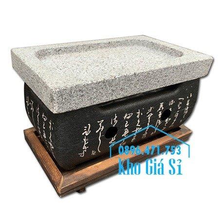 Bếp đá nướng thịt bò Wagyu, bò bít tết tại bàn - Bếp nướng thịt bằng đá kiểu Nhật hình chữ nhật (size trung)0