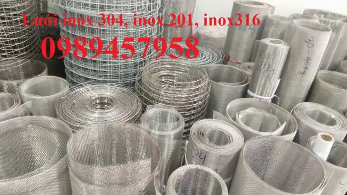 Lưới inox304 dây 0,5ly, 0,7ly, 1ly ô 3x3, 5x5, 10x10, 15x15, 20x2019