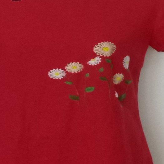 Đầm suông màu đỏ thêu bông hoa trẻ trung D5.20