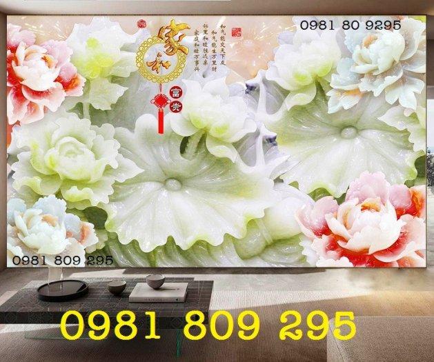 Tranh gạch hoa mẫu đơn - tranh gạch men 3d4