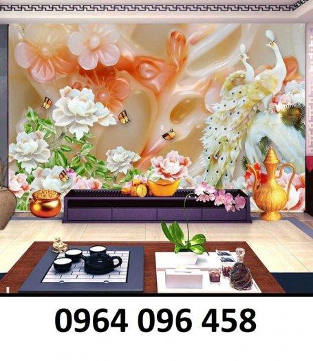 Tranh gạch 3d chim công trang trí phòng khách - VBF46