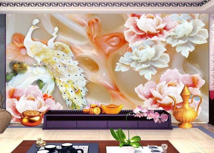 Tranh gạch 3d chim công trang trí phòng khách - VBF44