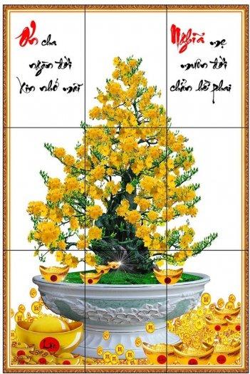 Gạch ốp tường 3d mẫu cây mai vàng - GKM776