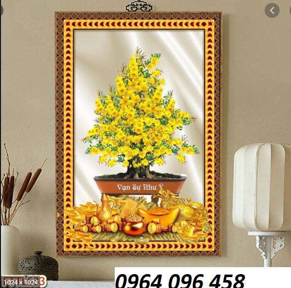 Gạch ốp tường 3d mẫu cây mai vàng - GKM771