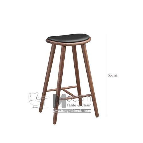 Ghế Bar Cao 65cm Chân Gỗ Dành Cho Đảo Bếp Hiện Đại HCM0