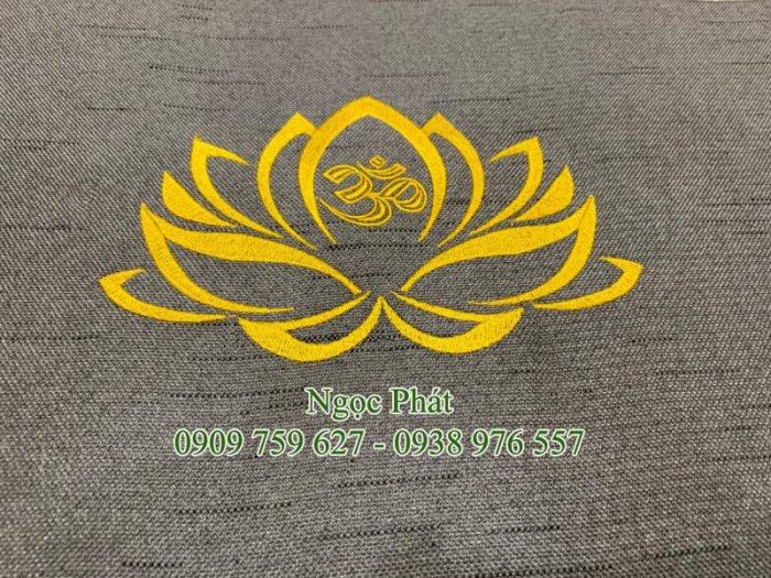 Đệm Ngồi Thiền Định 70x70cm Tọa Cu Bồ Đoàn Ngồi Thiền Thêu Sen Vàng0
