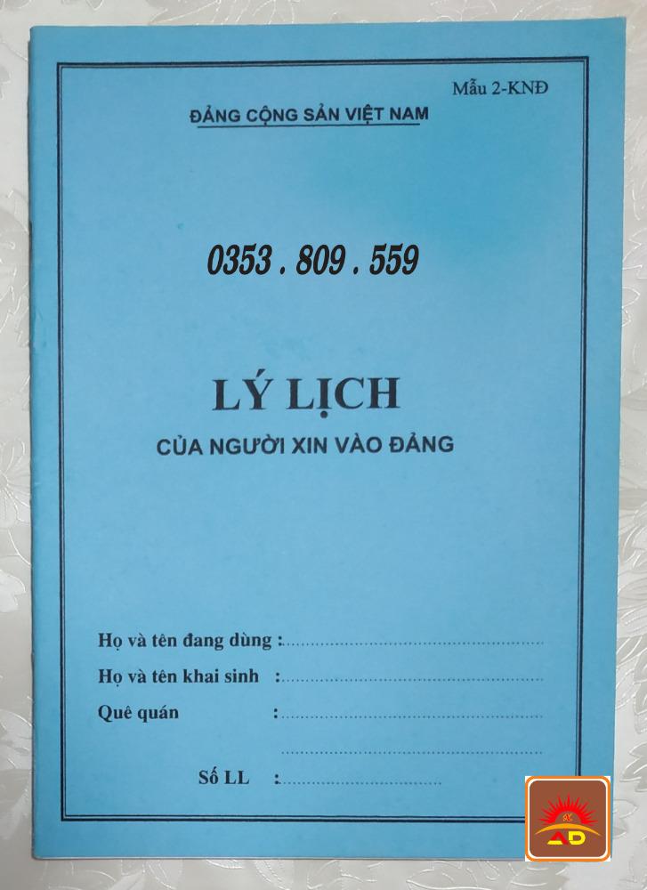 Lý lịch của người xin vào đảng mẫu 2-knđ, bìa trắng, xanh, hồng, bìa màu5