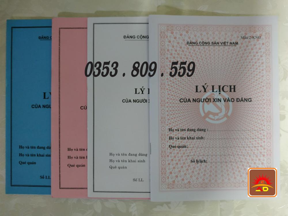 Lý lịch của người xin vào đảng mẫu 2-knđ, bìa trắng, xanh, hồng, bìa màu0
