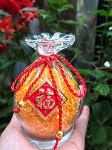 Túi Tiền Phong Thủy Đá Thạch Anh Vàng Tự Nhiên Tài Lộc May Mắn Size cao 10cm x đk 7cm x đế tròn đk 6cm9