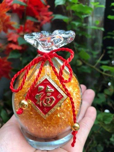 Túi Tiền Phong Thủy Đá Thạch Anh Vàng Tự Nhiên Tài Lộc May Mắn Size cao 10cm x đk 7cm x đế tròn đk 6cm2