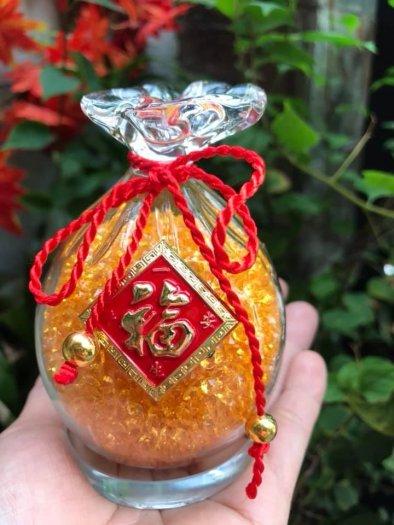 Túi Tiền Phong Thủy Đá Thạch Anh Vàng Tự Nhiên Tài Lộc May Mắn Size cao 10cm x đk 7cm x đế tròn đk 6cm0
