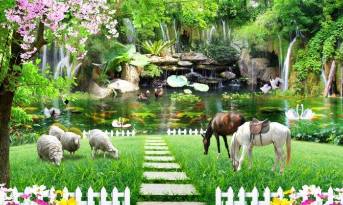 Tranh gạch 3d - gạch tranh 3d phong cảnh - ABN436