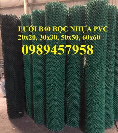 Lưới hàng rào b40 bọc nhựa PVC, Lưới b40 hàng rào bảo vệ cao 2m, 2m41