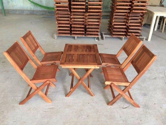 Bộ bàn ghế gỗ xếp mini cà phê giá rẻ0