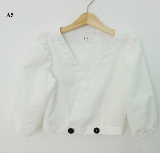 Áo Crotop tay lỡ màu trắng trơn thời trang nữ trẻ trung A52