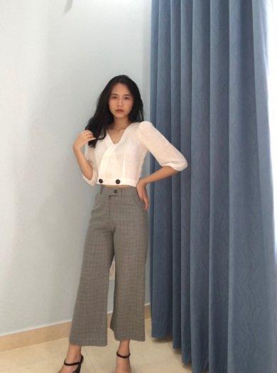 Áo Crotop tay lỡ màu trắng trơn thời trang nữ trẻ trung A50
