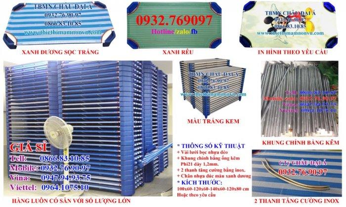 Giường lưới xanh dương-xanh rêu nhập khẩu giá rẻ tphcm1