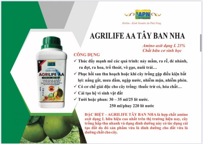 Dinh dưỡng AGRILIFE _ AA  tây ban nha cho cây trồng0