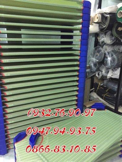 Giường sọc xanh vải lưới cao cấp không co giãn0