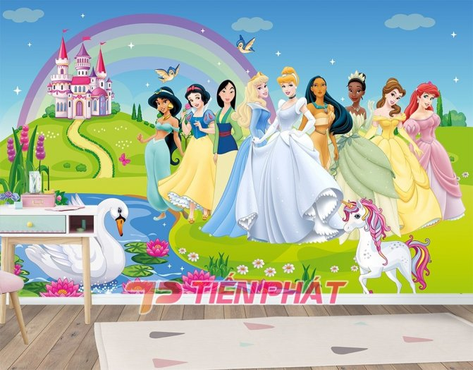 Tranh Dán Tường 3D Cho Trẻ Em Công Chúa Elsa TTE8011- Chất Liệu: PP Kim Sa Cao Cấp- Kích Thước: Khổ 1.25mx 1m5