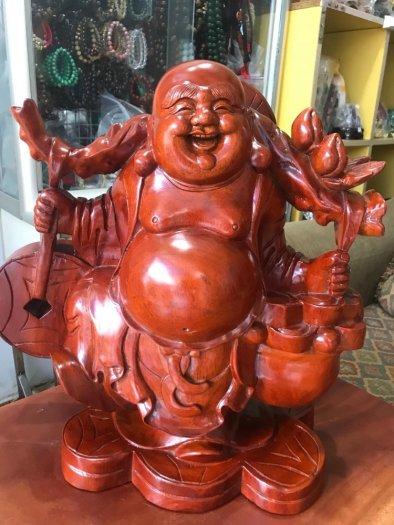 Tượng Phật Di Lặc Gỗ Đứng Gánh Tiền Hủ Tiền To Size cao 39cm x N 39cm x S16cm có 3500k8