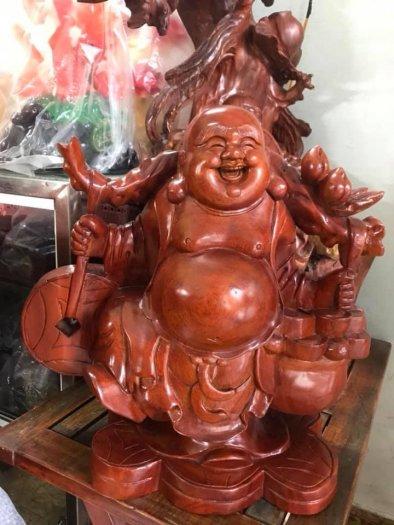 Tượng Phật Di Lặc Gỗ Đứng Gánh Tiền Hủ Tiền To Size cao 39cm x N 39cm x S16cm có 3500k6
