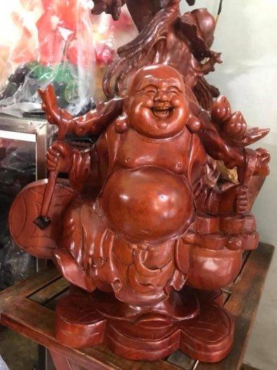 Tượng Phật Di Lặc Gỗ Đứng Gánh Tiền Hủ Tiền To Size cao 39cm x N 39cm x S16cm có 3500k4