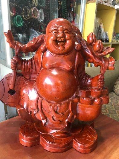 Tượng Phật Di Lặc Gỗ Đứng Gánh Tiền Hủ Tiền To Size cao 39cm x N 39cm x S16cm có 3500k1