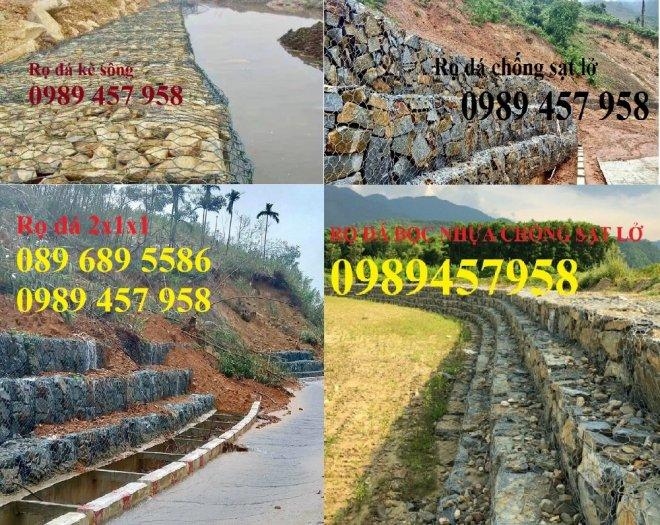 Sản xuất Rọ đá 1,5*1*1, Rọ đá mạ kẽm 2*1*0,5, Rọ đá bọc nhựa 2*1*16