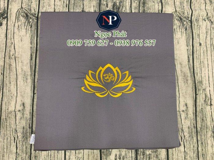 Nệm Ngồi Thiền 50x50x5cm Bông Sen Vàng - Nệm Ngồi Yoga10