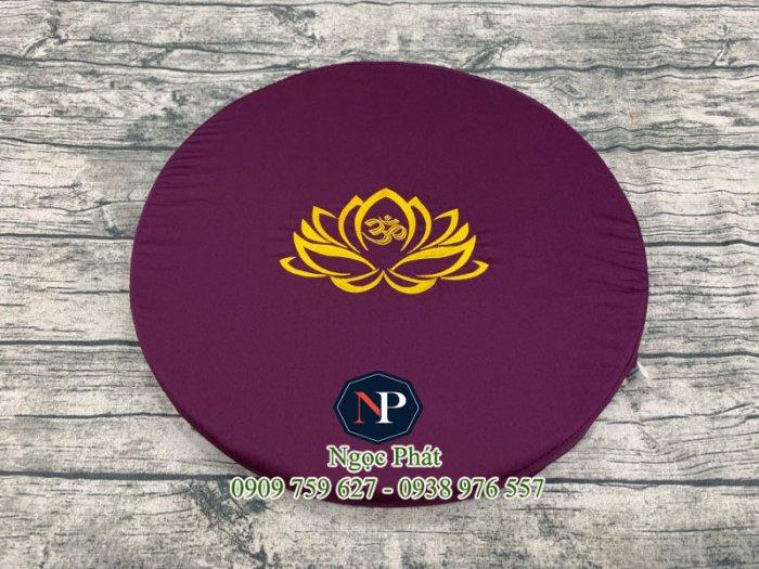 Bồ Đoàn Thêu Sen Size Tròn 50x5cm - Đệm Quỳ Lễ Phật - Đệm Ngồi Thiền.5