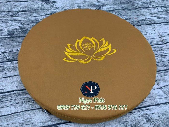Bồ Đoàn Thêu Sen Size Tròn 50x5cm - Đệm Quỳ Lễ Phật - Đệm Ngồi Thiền.4
