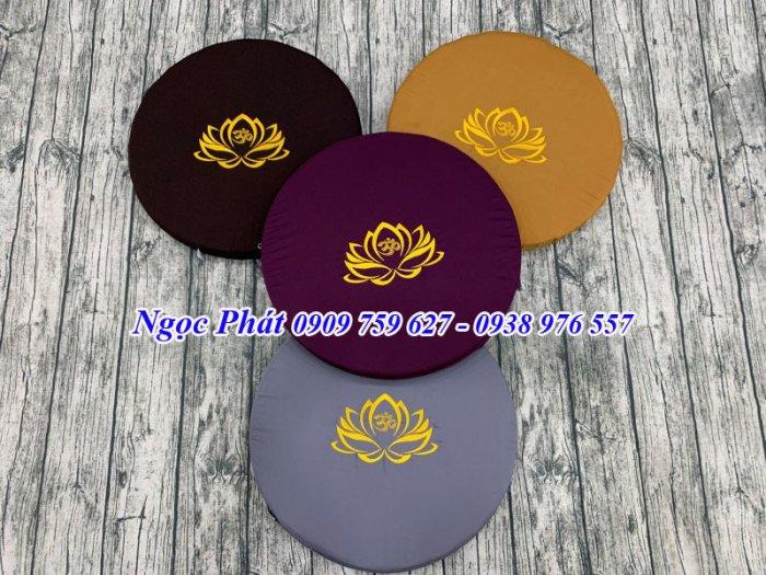 Bồ Đoàn Thêu Sen Size Tròn 50x5cm - Đệm Quỳ Lễ Phật - Đệm Ngồi Thiền.0