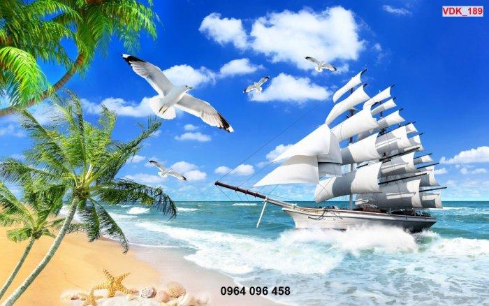 Tranh gạch 3d - gạch tranh 3d ốp tường phong thủy thuyền biển - DMN545