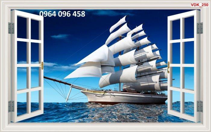 Tranh gạch 3d - gạch tranh 3d ốp tường phong thủy thuyền biển - DMN543