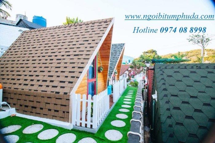 Ngói lợp nhà bungalow, tấm lợp nhựa đường cho nhà lắp ghép, ngói giả đá giá rẻ9