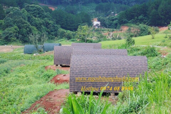 Ngói lợp nhà bungalow, tấm lợp nhựa đường cho nhà lắp ghép, ngói giả đá giá rẻ2