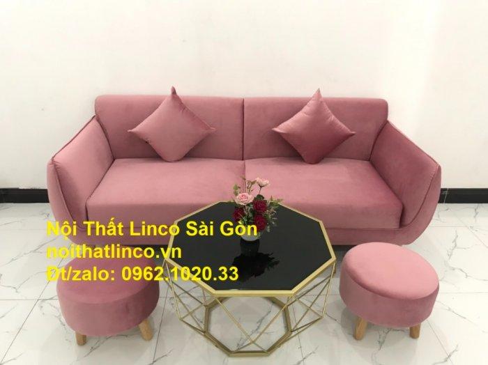 Bộ ghế sofa băng văng 1m9 màu hồng phấn đẹp rẻ sang trọng hiện đại Nội thất Linco Sài Gòn11